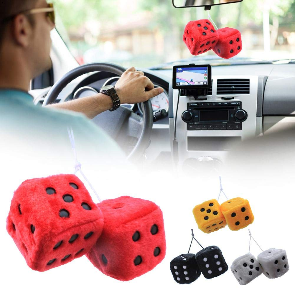 AITOCO Car Interior Hanging Fuzzy Dice, Auto Rear Mirror Plush Pendant for Car, Motor home, Caravan, House, Truck, Lorry Rear View Mirror/Glass Window Ornament Decoration