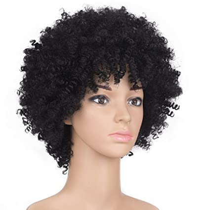 Meen Peluca Afro Pelucas Peluca de Pelo Corto Explosivo Cabeza Disco Party Headwear