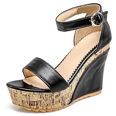 6133e6ab4b853d COOLCEPT Women High Wedged Heels Platform Party Dress Strappy Summer Shoes  (3 B(M