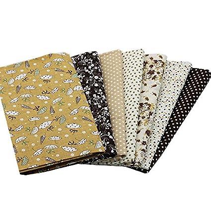7 Telas diseños marrones de 50 X 50 cm para manualidades, costura, scrapbooking,