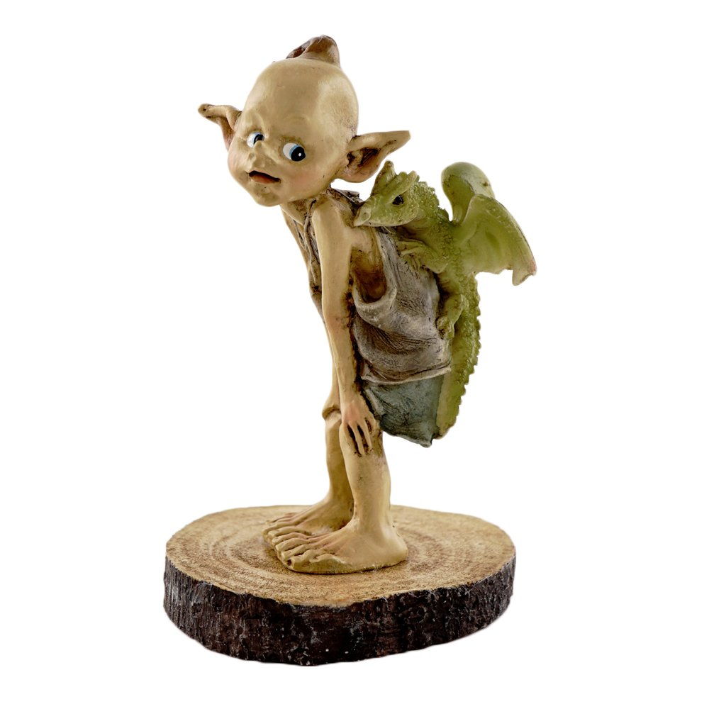 Top Collection Miniature Fairy Garden and Terrarium Statue, Garden Pixie Elf with Baby Dragon