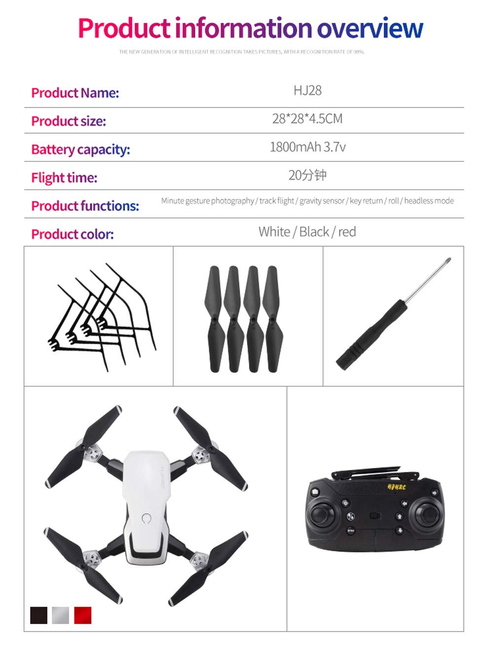 Fcostume RC Drohne, HJ28 5.0MP 1080 P Kamera WiFi WiFi WiFi FPV Faltbare 6-Achsen-Gyro RC Quadcopter Faltbare Drohne (Schwarz) c24c31