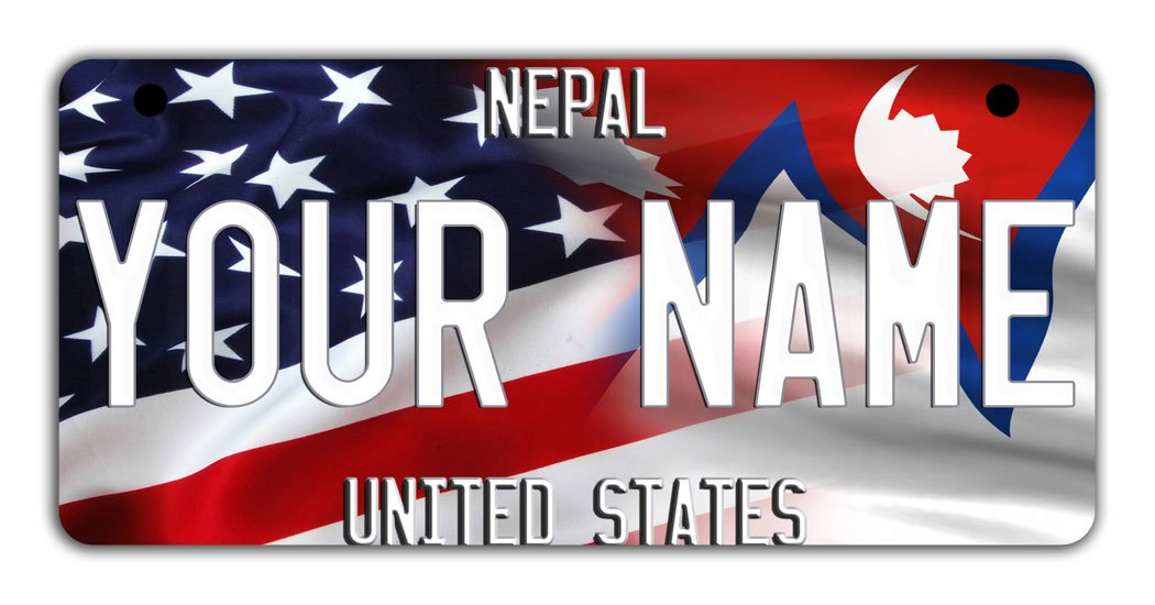 BRGiftShop Personalize Your Own Mixed USA and Nepal Flag Bicycle Bike Stroller Childrens Toy Car 3x6 License Plate Tag