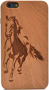 iPhone 6 Plus Case Running Horse Pattern Handmade Carving Real Wooden Wood Case Cover with TPU Case for Apple iPhone 6S Plus (Only 5.5'')