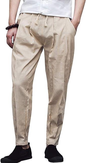 UUYUK Men Harem Loose Camo Casual Elastic Waist Pants Trousers