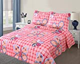 The Liquidator Collections Pink and Orange, Multi Color Butterfly Printed Full 3 Piece Quilt/Bedspread for Kids/Teens (Full 3PC Quilt)