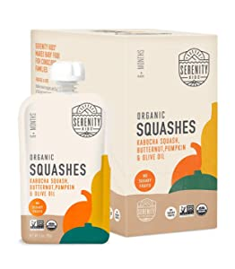 Serenity Kids Baby Food, Organic Kabocha Squash, Butternut and Pumpkin with Olive Oil, For 6+ Months, 3.5 Ounce Pouch (6 Pack)