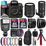 Holiday Saving Bundle for D810 DSLR Camera + 70-200mm f/2.8E VR Lens + 18-140mm VR Lens + 2.2x Telephoto Lens + 0.43x Wide Angle Lens + 6PC Graduated Color Filer Set - International Version