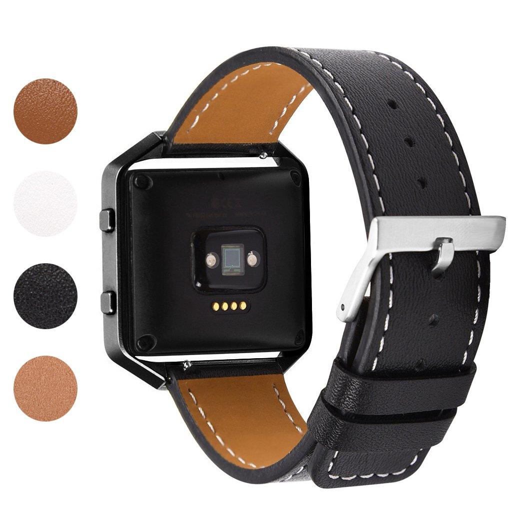 Soulen Compatible Fitbit Blaze Leather Band with Frame, Fitbit Blaze Leather Band with Metal Frame Small & Large Women Men for Fitbit Blaze Fitness Watch