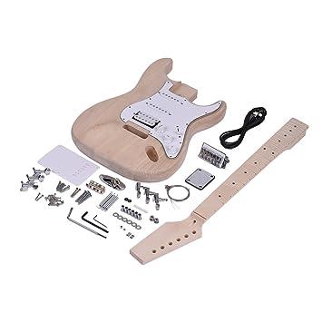 ammoon Guitarra Eléctrica DIY Kit Estilo ST Inconcluso Cuerpo de Tilo Cuello de Arce Diapasón de Palisandro: Amazon.es: Instrumentos musicales