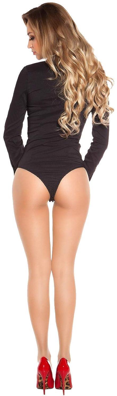 S M L XL Bluse Damen Body Unterw/äsche Damenbluse Damenbody Hemdbluse Firstclass Trendstore eleganter Business Hemdbody Gr