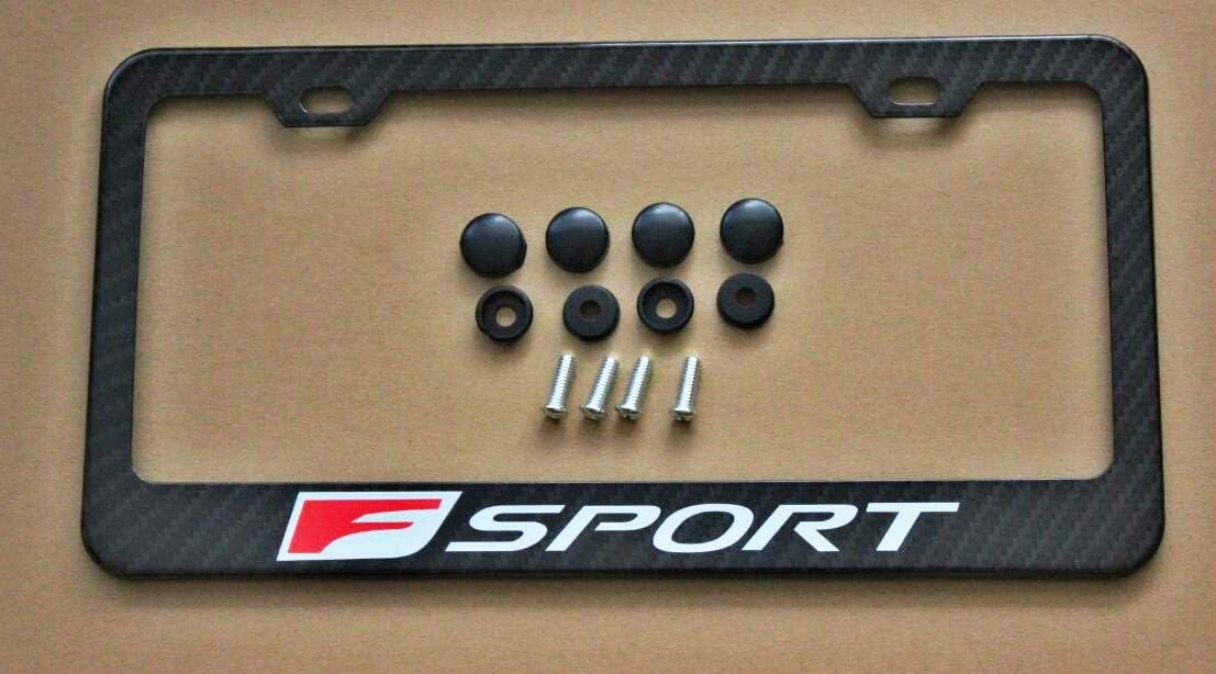 Armertek F-Sport Red Logo Carbon Fiber-Look License Plate Frame Cover Stainless Steel Black for Lexus 1