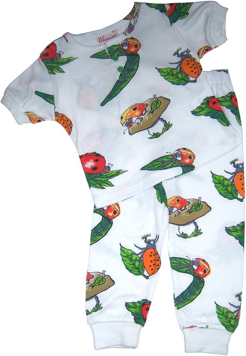 US Giftwear Discontinuoued Pattern Ladybug Pajama Set Cottonblend