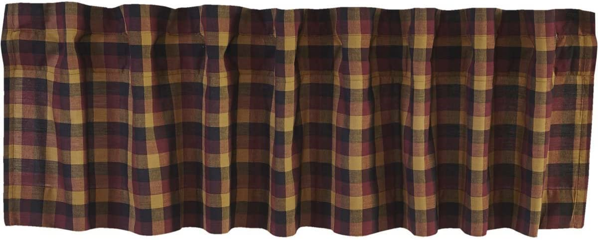 VHC Brands Primitive Kitchen Window Curtains-Heritage Farms Valance, 16×60, Deep Burgundy Red