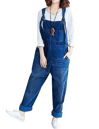 bdf013222cad Jenkoon Women s Retro Baggy Bib Overalls 100% Cotton Distressed Boyfriend Wide  Leg Jumpsuits (Blue
