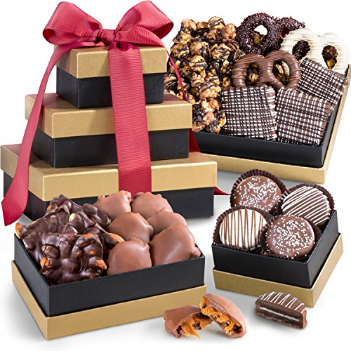 Golden State Fruit Chocolate, Caramel, and Crunch Gift Tower (Chocolate Gift Towers)