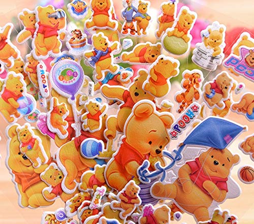 H/&C Replacement for 3D Coloful Winnie The Pooh Stickers 12 Sheets per Pack