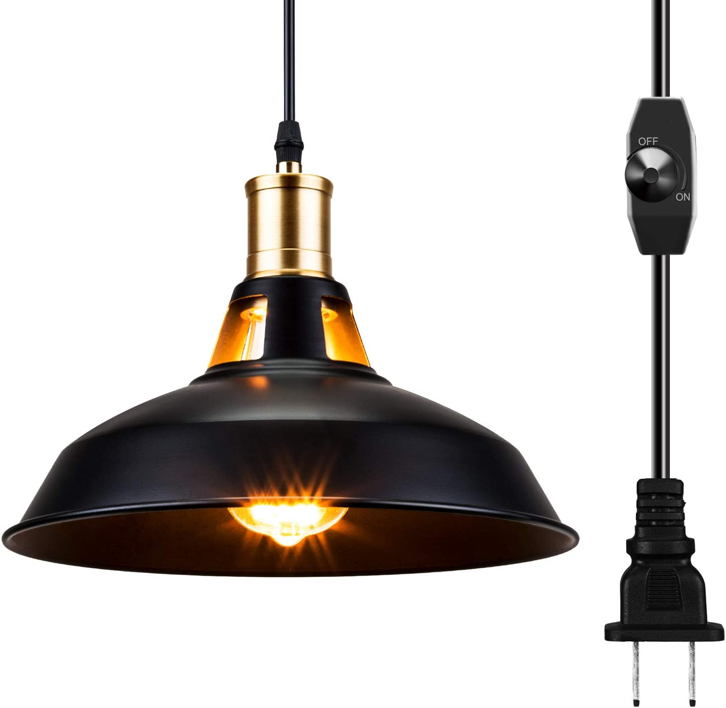 SUNVP Industrial Dimmable Pendant Lights Plug in Black Metal Aluminum Shade Swag Hanging Lamp Fixture for Farmhouse, Dining, Bedroom, Hallway (1 Pack)