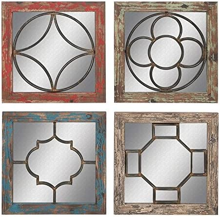 Deco 79 55465 Wood Metal Mirror Wall 4 Assorted , 15 W 15 H