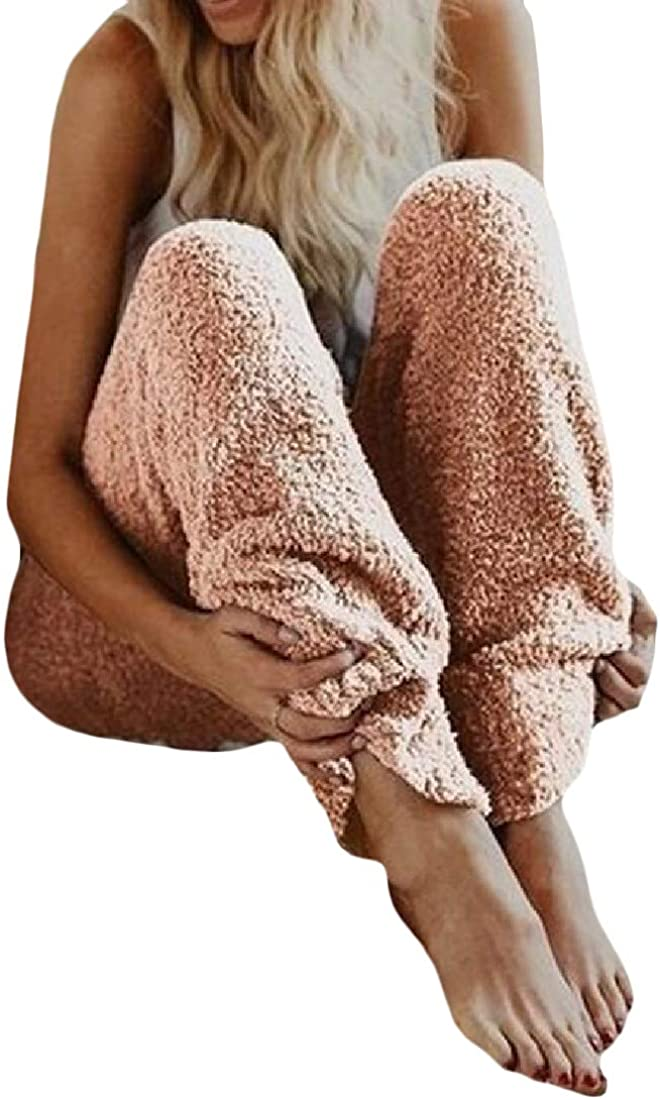 Cromoncent Womens Loose Plush Elastic Waist Sleep Homewear Pajama Pants