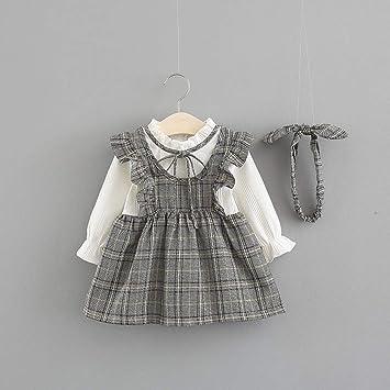 d7ebfa6cba512 ワンピース ベビー服 Glennoky キッズ服 ストライプドレス スカート+ヘアバンド 2点セット 可愛い 女の子