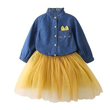 c301d378694e1 Robemon✬Noël Hiver Ensemble Bébé Fille Vêtement Tissu Denim Manches Long  Cartoon Lapin Oreilles Cowboy