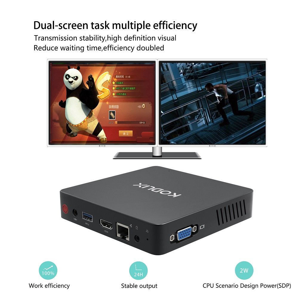 Mini PC, Intel Atom x5-Z8350 Processor (2M Cache, up to 1.92 GHz)4K/4GB/32GB 1000Mbps LAN 2.4/5.8G Dual Band WiFi BT 4.0 Dual Screen Display with HDMI and VGA Ports,Fanless Computer Support Windows 10 by COOFUN (Image #8)