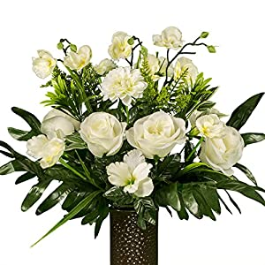 White Rose with Orchids Artificial Bouquet, featuring the Stay-In-The-Vase Design(c) Flower Holder (SM1820) 24