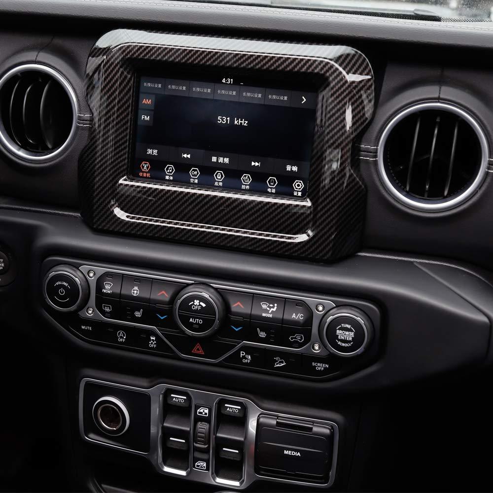 RT-TCZ 7 Red ABS Dashboard GPS Navigation Panel Frame Cover for 2018-2020 Jeep Wrangler JL JLU