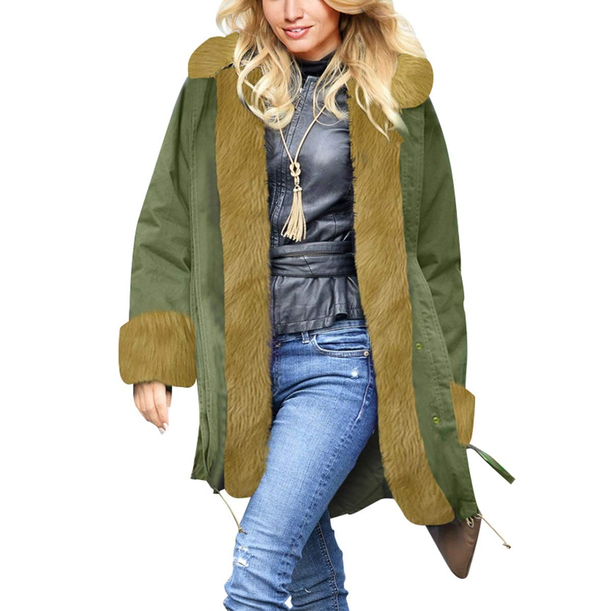 Green4 Womens Winter Warm Thicken Long Sleeve Faux Fur Collar Hooded Parka Jacket Coat