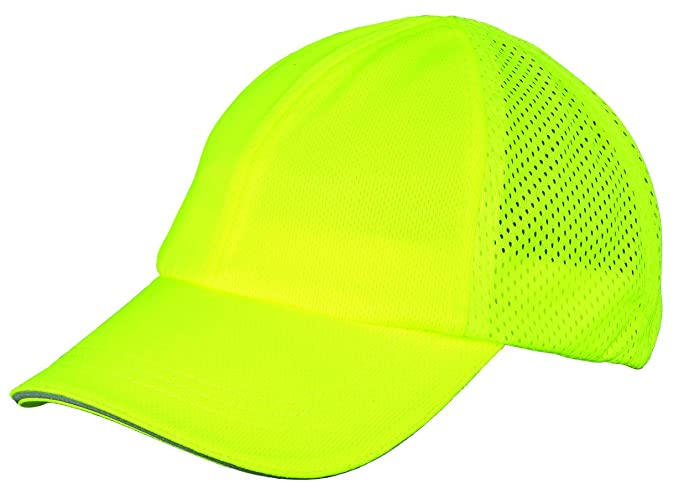 c712ed0c7cd Amazon.com  Broner Hi-Visibility Yellow Microfiber Sport Cap with Mesh Back  and Silver Reflective Trim on The Peak  Clothing