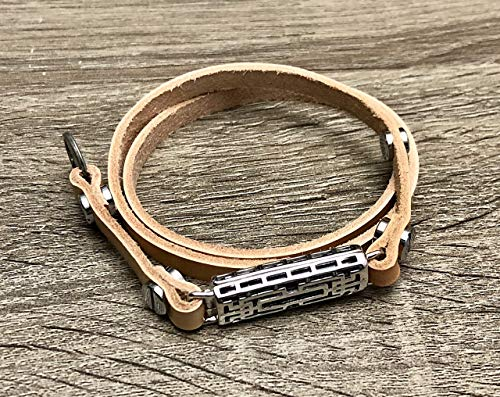 Tan Leather Anklet For Fitbit Flex 2 Fitness Activity Tracker Handmade Adjustable Strap Fitbit Flex 2 Multi Wrap Ankle Band Steampunk Holder Silver Rivets Ankle Accessory (Band Rivets)