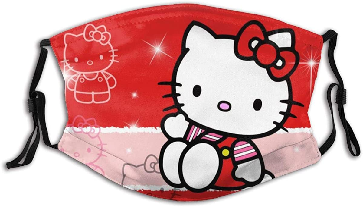 Hello-Kitty Outdoor Mask,Protective 5-Layer Activated Carbon Filters Adult Men Women Bandana