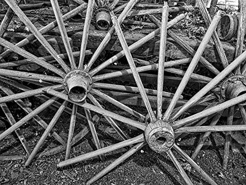 Cartwheels Wagons - Home Comforts Peel-n-Stick Poster of Spokes Aged Vintage Pioneer Cartwheel Wagon Wheels Poster 24x16 Adhesive Sticker Poster Print