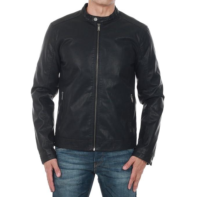 2a5b0da99c Giubbotto eco pelle Jack e Jones 12117661 nero giacca Premium uomo ...