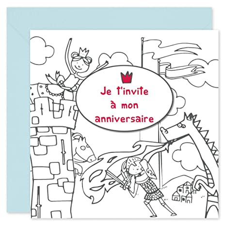 Popcarte 16 Cartes D Invitation Anniversaire Coloriage Avec