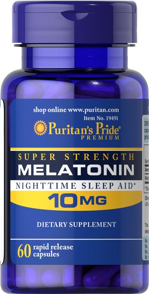 Puritans Pride Super Strength Melatonin 10mg Rapid Release Capsules, 60-Count