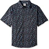 Haggar Men's Tall Short Sleeve Micrographic Prints Woven Shirt, Black/Steel, 4X Big