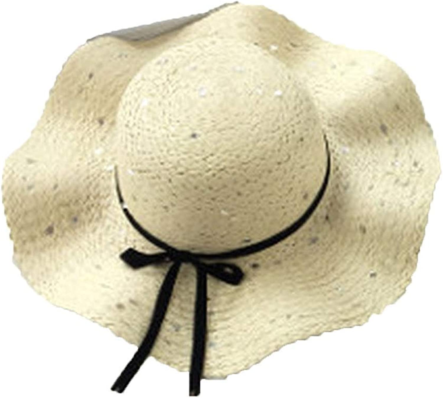 High end Parenting Sunshade Mother andter Summer Bow Straw hat Sunscreen Beach hat Seaside Hats,Navy,Onesize3