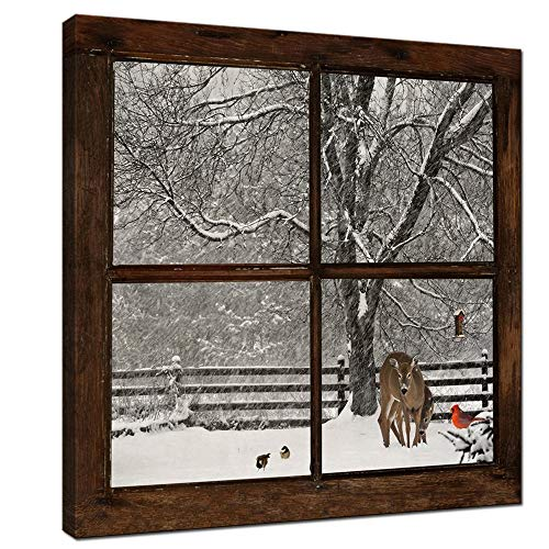 sechars - Canvas Prints Wall Art,Glimpse into Deer and Cardinal in Snowstorm Out of Grunge Window,Winter Landscape Painting Modern Wall Decor,Framed Artwork Ready to Hang - 24