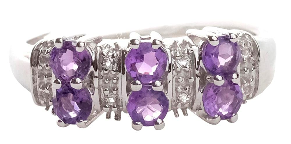 Natural Amethyst White Topaz 925 Sterling Silver Rings Silver Jewelry