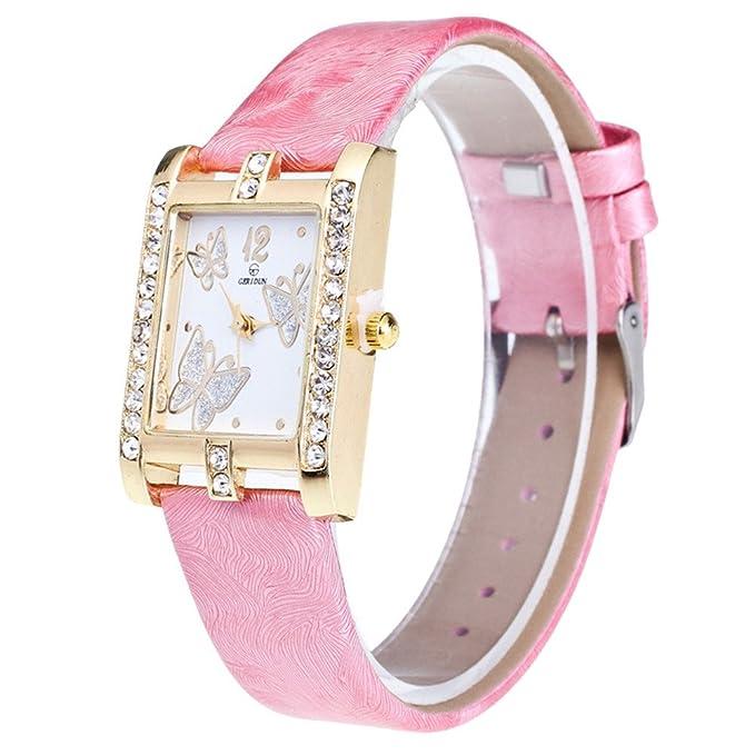 Relojes Pulsera Mujer,Reloj de Mujer Reloj de Pulsera de Cuarzo de aleación analógica Retro con diseño de Colores de Caramelo y Cuero: Amazon.es: Relojes