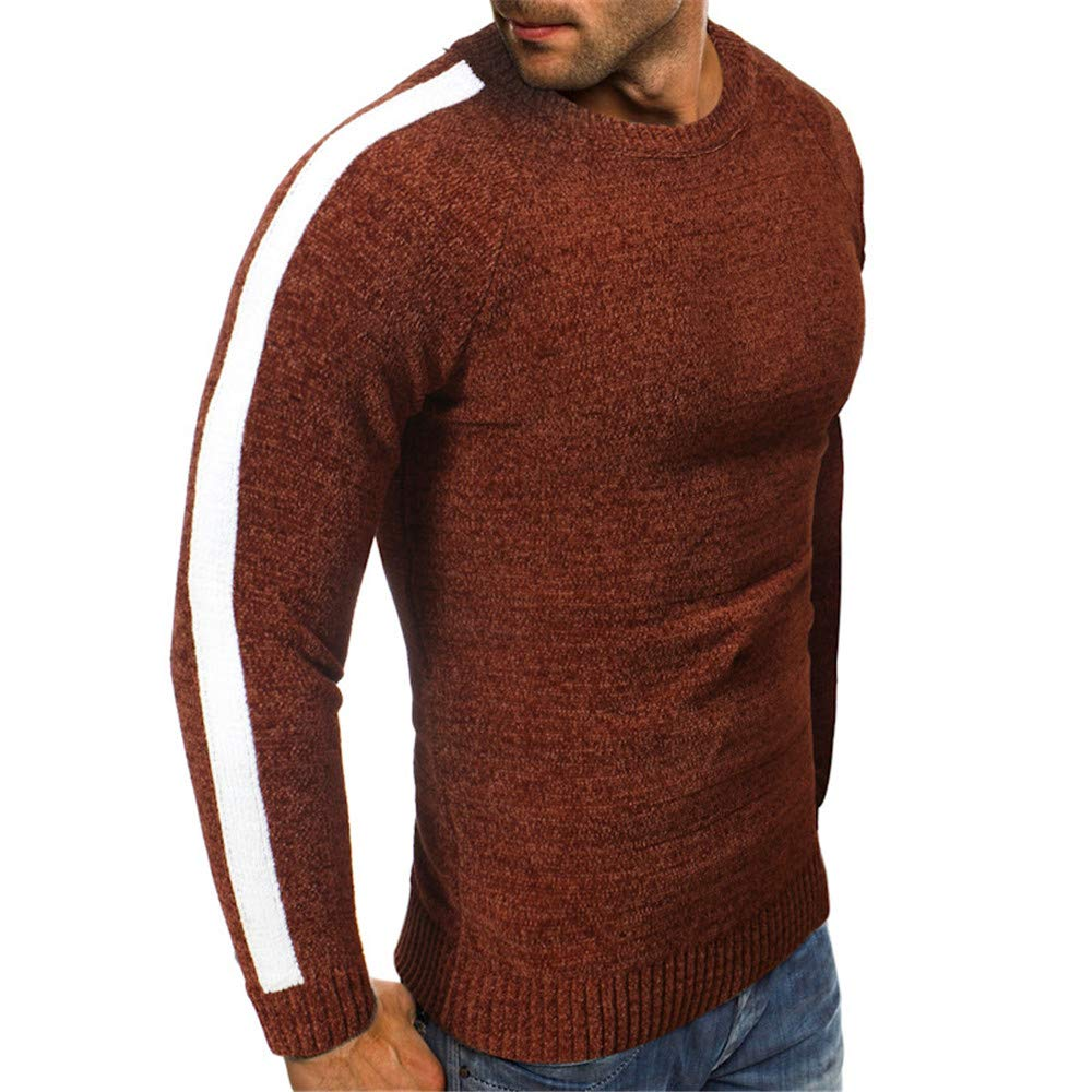 Mens Autumn Winter Fashion Loose Circle Collar Knitted Sweater Blouse Top FTXJ Mens Tops Blouse
