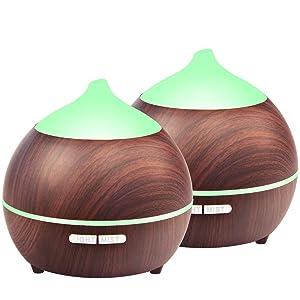 Flowmist Mulcolor Essential Oil Diffuser, 2Pack 250ml Aromatherapy Diffuser for Essential Oils, Aroma Oil Diffuser Humidifier, Ultrasonic Diffuser Wood Grain, Waterless Auto Shut Off, 7 Colors Light