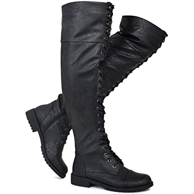 fbf3c3bc5817 Premier Standard - Women's Lace Up Over Knee High Sexy Boots - Side Zipper  Comfortable Walking