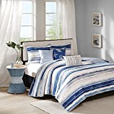 6 Piece Full/Queen, Modern Coastal Stripe Pattern Coverlet Set, Contemporary Motif Nautical Design, Traditional Ocean Style Themed, Beautiful Sea Side look Bedding, Adorable Aqua Blue, White Color