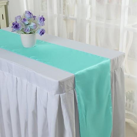 10PCS 12 X 108 Inch Satin Table Runner Wedding Banquet Decoration (#14 Aqua)