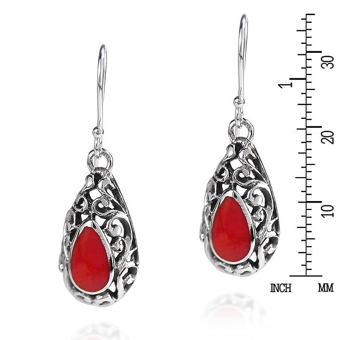 2317e3ff4 Amazon.com: .925 Sterling Silver Reconstructed Red Coral Filigree Teardrop Fish  Hook Earrings: Dangle Earrings: Jewelry