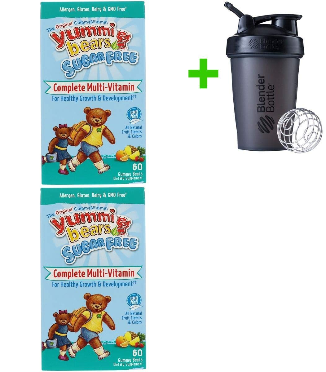 Hero Nutritional Products, Yummi Bears, Complete Multi-Vitamin, Sugar Free, All Natural Fruit Flavors, 60 Gummy Bears(2 Packs)+Sundesa, Blender Bottle, Classic with Loop, 20 oz