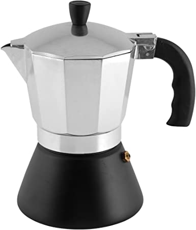 H&H Dynamic Cafetera para 6 Tazas, Fondo inducción, Aluminio, Negro/Acero, 15 x 12 x 20 cm: Amazon.es: Hogar